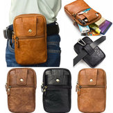 Men Genuine Leather Double Zipper Waist Bag Crossbody Bag