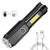 XANES® Double ضوء مصباح يدوي زوومابلي متعدد الوظائف مع COB Sidelight و البطارية وذيل مغناطيسي ، USB قابل لإعادة الشحن ضد للماء Super مشرق محمول LED Torch