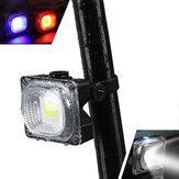 XANES TL05 500LM COBビーズホワイト/ブルー/レッドライト3モード防水USB充電式自転車