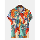 Mens Cartoon Cat Print Revere Collar Camisas de manga curta