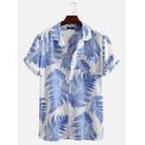 أوراق الصنوبر طباعة 100 ٪ قطن قميص قصير الأكمام جيب الصدر استرخاء