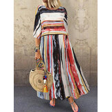 Half Sleeve Round Neck Striped Print Patchwork Retro Loose Maxi Dress