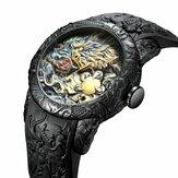 BIDEN BD129 Retro Dragão Relógio de pulso masculino estilo chinês à prova d'água Silicone Banda Relógio de quartzo