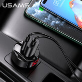 Carregador de carro USAMS 42W 2 portas USB PD QC4 + QC3.0 PD3.0 SCP FCP Carregamento rápido LED Display digital para iPhone 11 SE 2020 para Samsung Galaxy Note 20 Mi10 Huawei P40