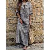 Mulheres Striped V Neck manga comprida Casual Loose Maxi Dress