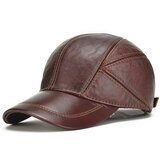 Collrown Heren Winter Warm Echt Leer Baseball Cap Oorklep Oorwarmers Winddicht Outdoor Trucker Hoeden