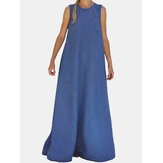 Women Solid Color O-neck Sleeveless Summer Pocket Casual Maxi Dress