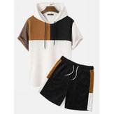 Mens Hooded Waffle Knit Color Block Patchwork Shirts Shorts Two Pieces Outfits