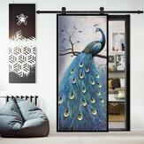 PVC salon porte autocollants papier peint affiche paon étanche décoration de la maison