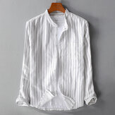 Men's Cotton Stripe Stand Collar Long Sleeve Casual Shirts