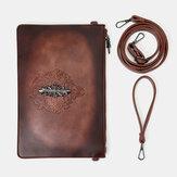 Men Faux Leather Retro Rivet Fashion Handcarry 6.3 Inch Phone Envelope Bag Clutch Bag Wrist Bag