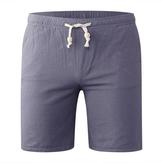 Shorts de linho de algodão casual para homens da Primavera Verão