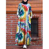 Vestido musulmán con gradas de una línea de túnica de kaftan de color en contraste con estampado floral vintage