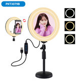 PULUZ PKT3079B 7.9 Inch 3 Modes Dimmable USB LED Curved Ring Light with Round Base Desktop Mount Phone Holder for Selfie Youtube Vlog