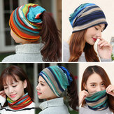 Women Cotton Colorful Multifunctional Beanie Hat Scarf Colla