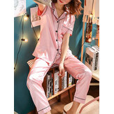 Plus Size Faux Silk Pijamas Two Pieces Loungewear Com Long Calças