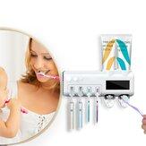 KCASA موزع معجون أسنان أوتوماتيكي UV ضوء حامل فرشاة الأسنان صندوق معقم للحمام المنزلي