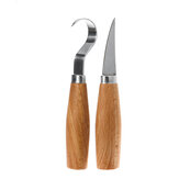 2PCS/Set Stainless Steel Woodcarving Cutter Woodwork Sculptural DIY Wood Handle Spoon Carving Knife Woodcut Tools