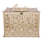 Wooden Wedding Card Post Box with Lock Collection Gift Card Boxes Weddings Decor Supplies