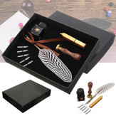 Antiguidade Feather Escrevendo Quill Pen Ink Seal Cera Set Collection Papelaria Presente