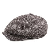 Mens Unisex Vintage Cotton Octagonal Cap Winter Stripe Gentleman Newsboy Beret Chapéu