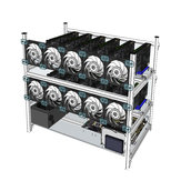 Aluminium Open Air Mining Rig Stackable Frame Case avec 10 LED Ventilateurs pour 12 GPU ETH