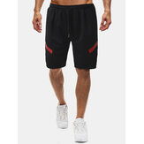 Mens Print Drawstring Pocket Black Sport Shorts