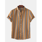 Mens Vintage Striped Breathable Short Sleeve Casual Shirts