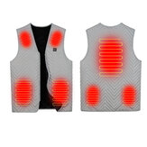 7 Area 3 Gear Electric Vest Heated Cloth USB Thermal Warm Heated Pad Warmer Grey
