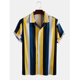 Mens Wide Striped Revere Collar Camisas de manga curta
