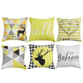 Fodere per cuscini geometrici Fodera per cuscino con stampa di strisce scozzesi gialle per la decorazione del divano della sedia di casa