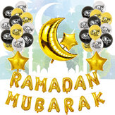 Eid Ramadan Mubarak Letter Pentagram Moon Party Foil Balloon Decoration Set