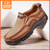 Mannen echt leer Vintage Casual Business Office Soft Walking Loafers