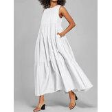 Robe maxi plissée d'été sans manches en couleur unie pour femmes
