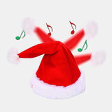 Unisex Cotton Christmas Battery Music Toy Electric Christmas Gift Santa Cap For Children