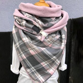 Women Cotton Plus Thick Keep Warm Winter Outdoor Casual Lattices Pattern Contrast Color Multi-purpose Scarf Shawl