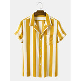 Homens Casual Striped Turn-Down Collar Camisas de manga curta