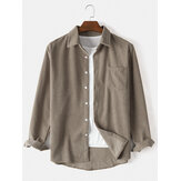 Corduroy Solid Color Long Sleeve Casual Shirts With Pocket