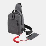 Men Polyester USB Charging Large Capacity Multi-Layers Business Crossbody Bag Chest Bag Sling Bag