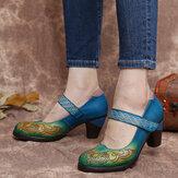 SOCOFY Vintage cuir contrasté découpes crochet boucle sangle talon épais Mary Jane pompes chaussures habillées