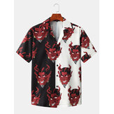 Mens Patchwork Devil Print Revere Collar Short Sleeve Designer Shirts