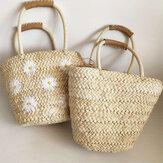 Bolsa de palha de margarida de verão para mulheres