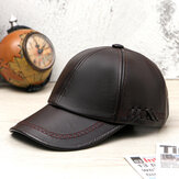 Collrown Men PU Leather Vintage Baseball Cap Personality With Woven Hat