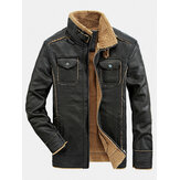 Mens Chest Double Pocket Zipper Warm Sherpa Lining Windproof PU Leather Jacket