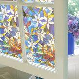 78x18in Pellicola per vetri Fiori colorati Adesivo in vetro Bagno Privacy Decorazione domestica
