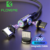 FLOVEME 3-in-1 Magnetic Data Cable Type-C Micro USB Cord LED Indicator Fast Charging For Mi10 POCO X3 Note 9S Huawei P30 P40 Pro OnePlus 8Pro