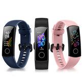 Original Huawei Honor Banda 5 AMOLED Full 24h Corazón Rate SpO2 Monitor 10 Modos deportivos 5ATM Impermeable Reloj inteligente con detección de postura de baño Global Version