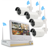 GUUDGO 4CH 1080P HD Kablosuz WIFI IP Kamera Ev Güvenlik Sistemi NVR Outdoor CCTV IP Kamera 10.1 İnç Monitör LCD