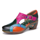SOCOFY Vintage Leather Floral Splicing Cutouts Stitching Hook Loop Buckle Strap Chunky Heel Pumps