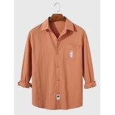 Cepli Erkek Pamuk Nakış Düz Yaka Rahat Fit Uzun Kollu Gömlek